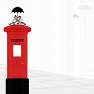 pigeon postbox love umbrella dove rain london illustration vecto