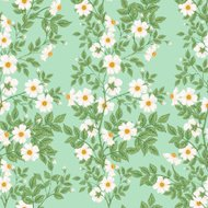 Wild White Roses Seamless Pattern