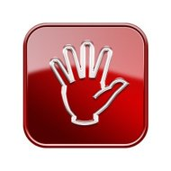 hand icon glossy red, isolated on white background