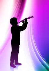Live Flute Musician on Abstract Wave Background