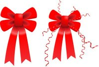 Red Valentine's Day Bow Ribbon Set