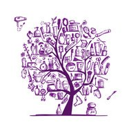 Cosmetics and female accessories on tree for your design