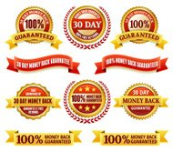 Money Back Guarantee Red and Yellow Badge Set