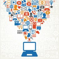 social media network background with icons vector