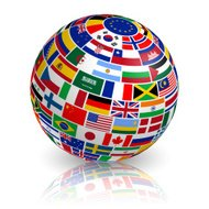 3D inclined Flag Globe