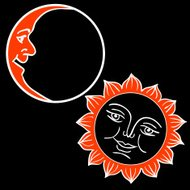 Moon and Sun with faces