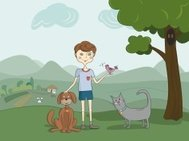 Illustration of boy with pets