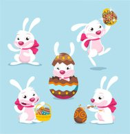 Easter Rabbits with chocolate eggs and egg basket