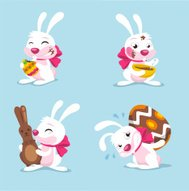Four Easter Rabbits with chocolate Egg