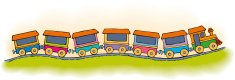 Vector stylized children's toy train with six carriages