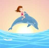 Little Girl Riding on the Jumping Dolphin's Back