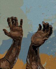 Abstract outstretched hands