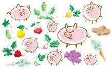 Pigs and vegetables