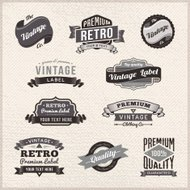 Set of vintage labels and badges on grunge frame