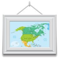 North America map in a frame