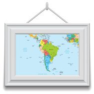 South America map  in a frame