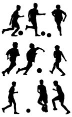 Multiple silhouettes of kids playing soccer