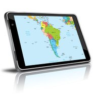 South America map in a digital tablet
