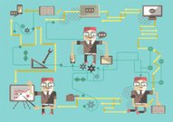 Infographic business-man with the gadgets