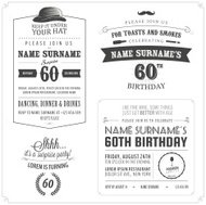 Set of adult birthday invitation vintage typographic design elem