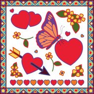 butterfly Valentine design elements
