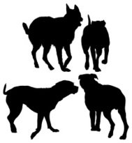 Multiple silhouettes of dogs