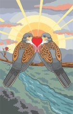 Turtle Doves on a Limb Forming a Heart at Sunset