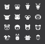 Animal Faces Icons - White Series | EPS10
