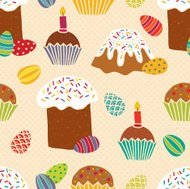 Easter seamless pattern with cakes and eggs