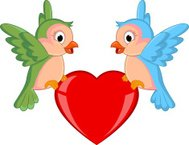 Bird with red heart