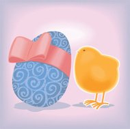 chick with big Easter egg