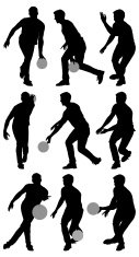 Multiple silhouettes of men bowling