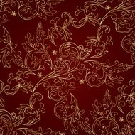 Gold floral vintage seamless pattern on red. Vector background