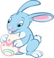 Happy cute blue Easter Bunny Rabbit with egg