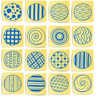 Doodle memo icon set - Circle with pattern