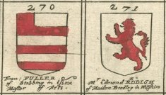 Coat of arms copperplate 17th century Fuller and Reddish