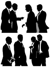 Multiple silhouettes of business people