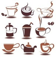 Vector coffee icons set