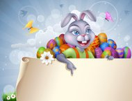 Easter Bunny with paper banner and eggs