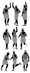 Multiple silhouettes of referee