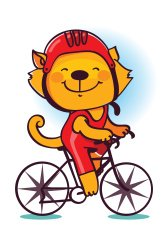Funny cat bicyclist