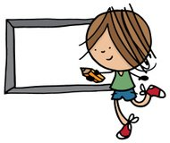Little boy running with a pencil and chalk board