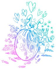 Ornate egg and Easter bunnies