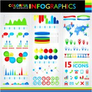 Colorful infographic set and 15 universal icons
