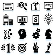 Job Search Application and Success black & white icon set
