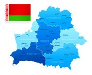 Map of Belarus - states, cities and flag