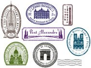 Paris travel rubber stamps