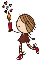 Little girl holding a candle with love hearts