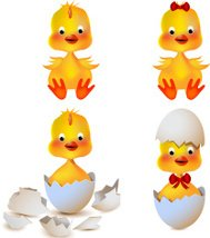 Set of four cartoon pictures with chickens