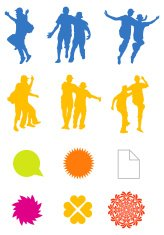 Design Elements - Jumping people & symbols